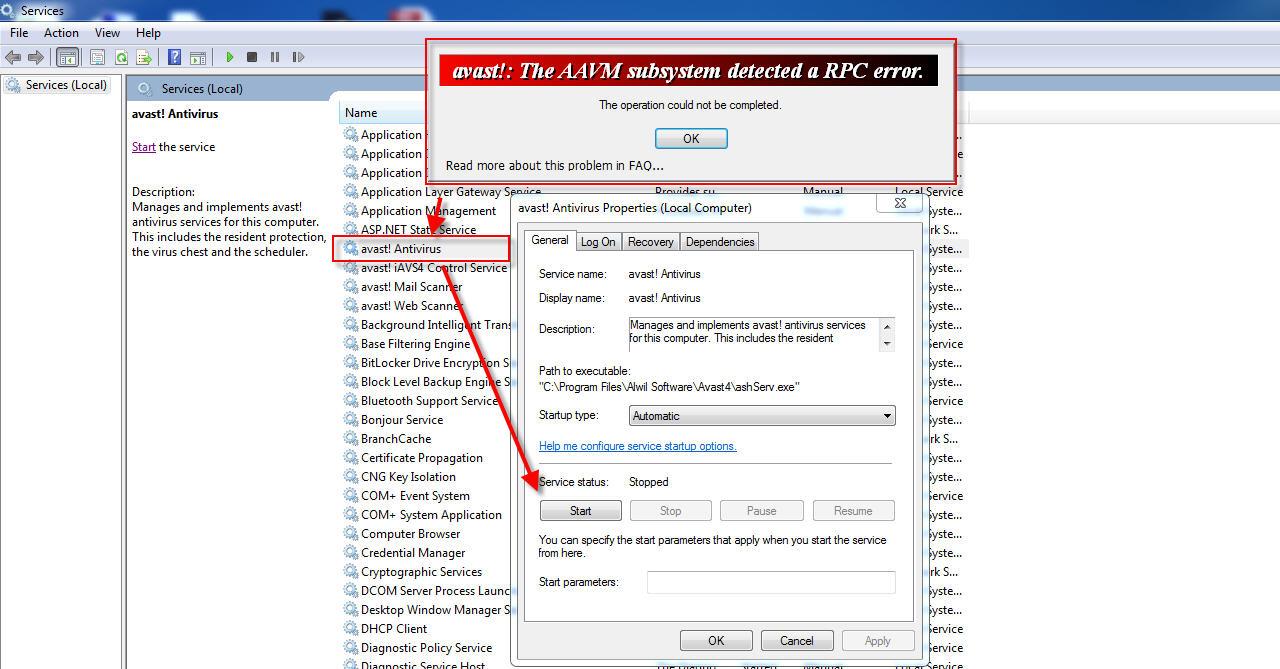 Avast Antivirus RPC Error