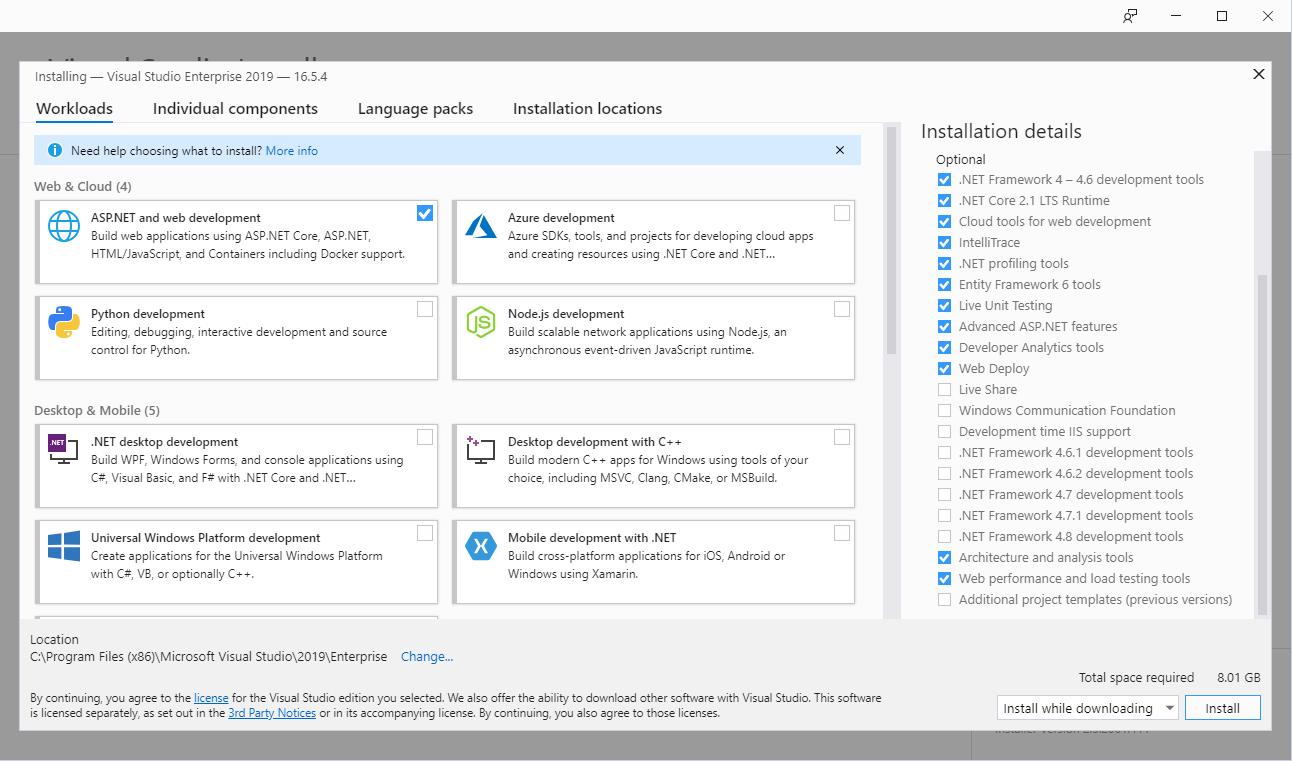หน้าจอติดตั้ง Package Visual Studio 2019