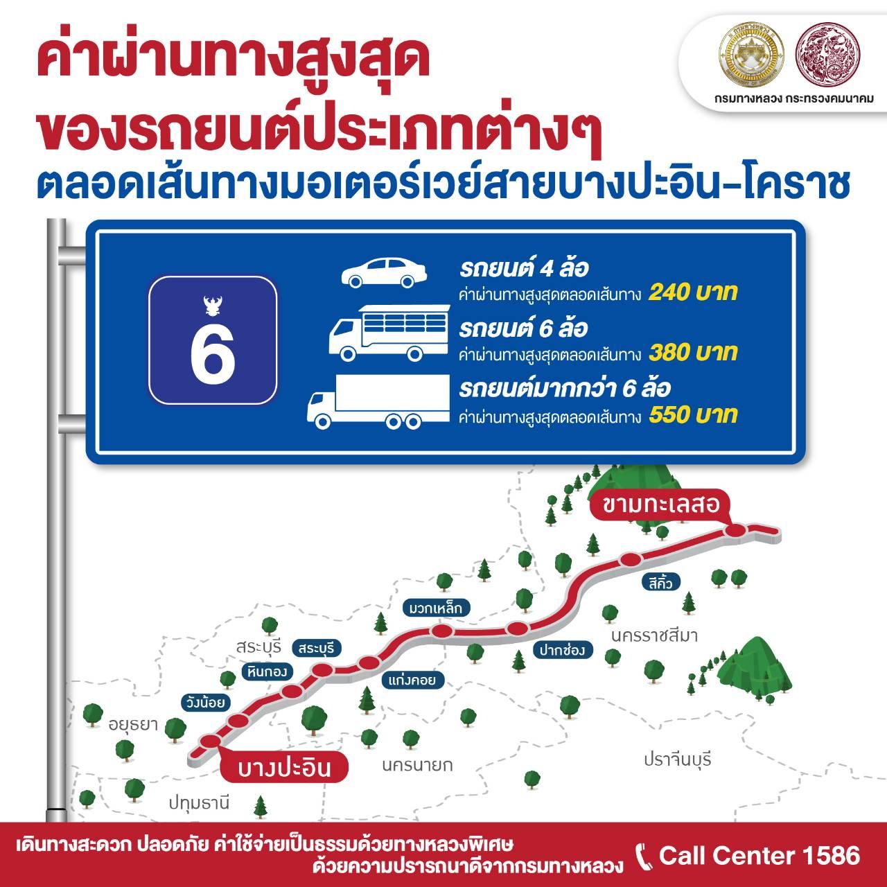 ค่าผ่านทาง 3 เส้นโคราช พัทยา กาญจนบุรี