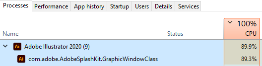 ปัญหา Adobe Illustrator ใช้ CPU 100%