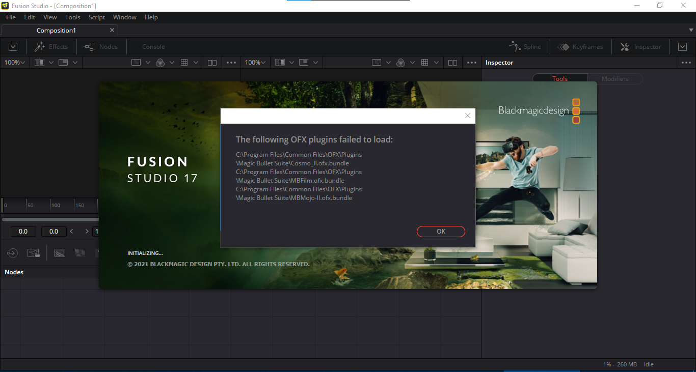 แก้ปัญหา OFX Plugins failed to load ตอนเปิด Fusion Studio