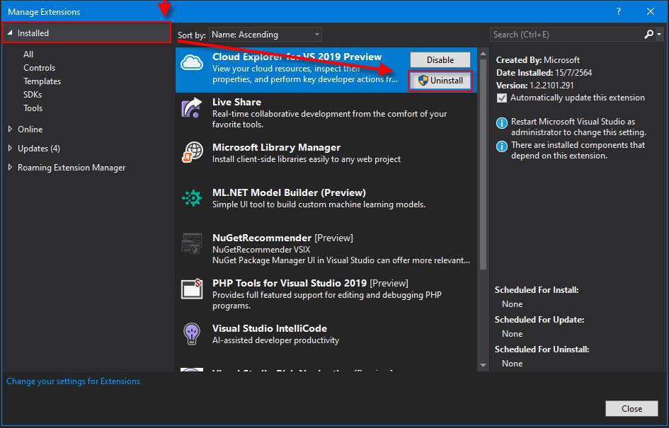 ถอนการติดตั้ง Extension ออกจาก Visual Studio